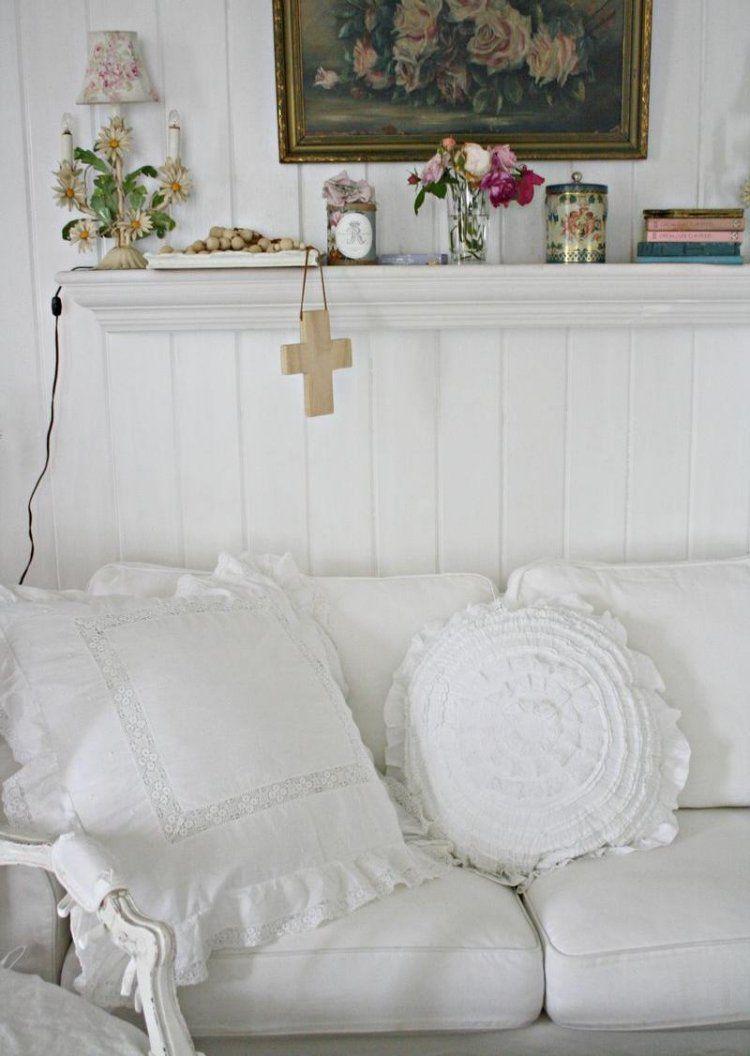 muebles salon estilo shabbi chic vintage cojines blancos ideas