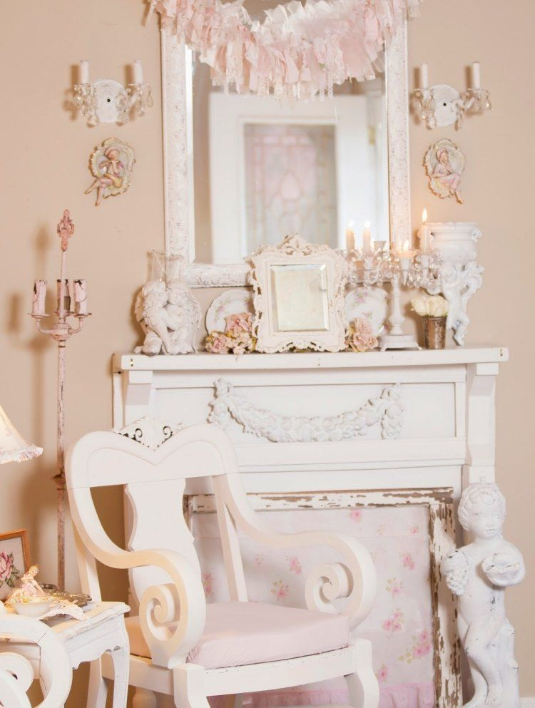 muebles salon estilo shabbi chic vintage colores rosa ideas