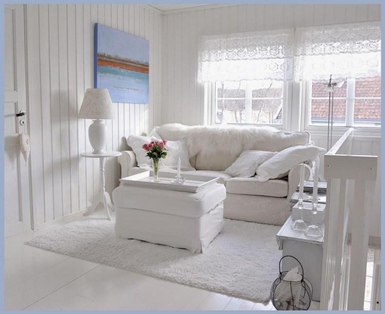 muebles salon estilo shabbi chic vintage cuadro azul ideas