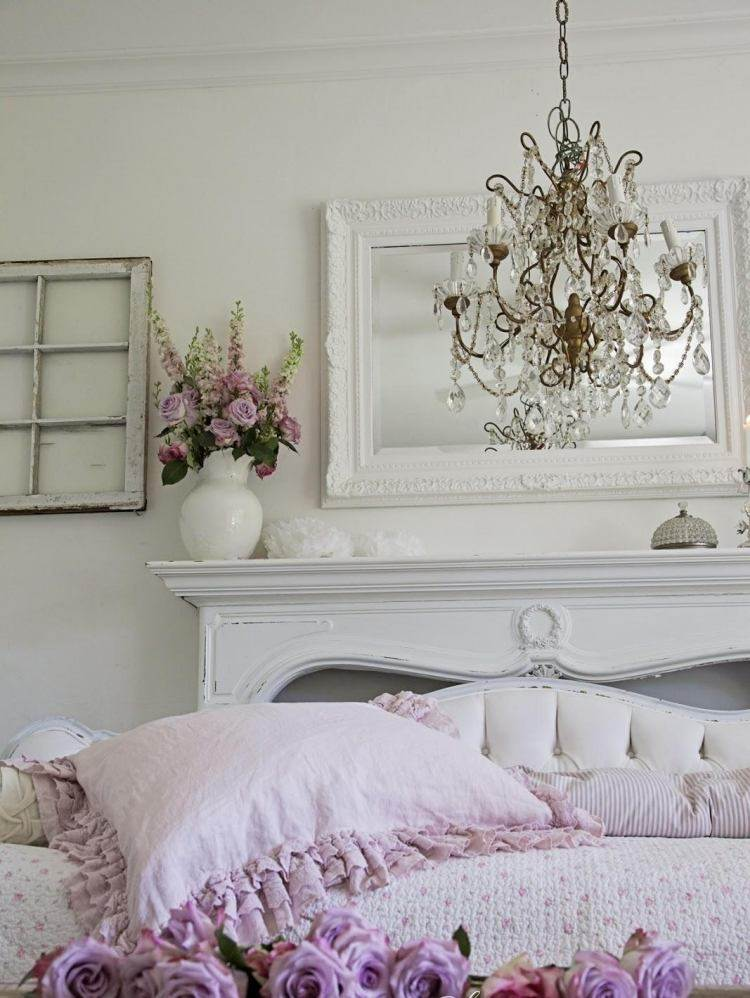 muebles salon estilo shabbi chic vintage espejo blanco ideas