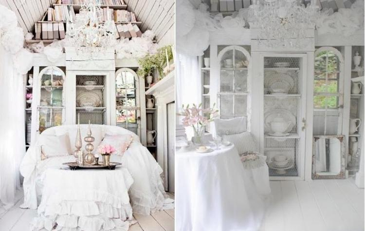 muebles salon estilo shabbi chic vintage flores frescas ideas