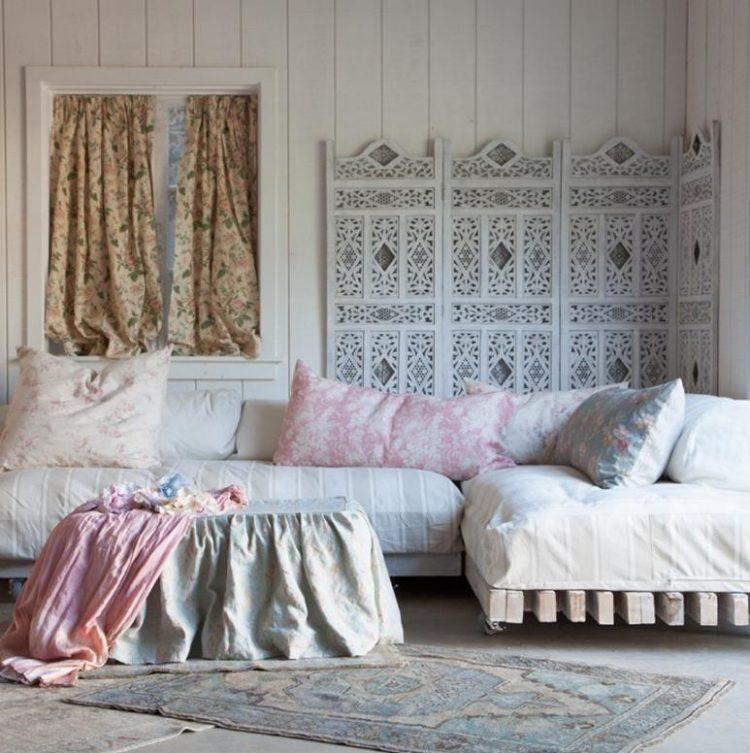 muebles salon estilo shabbi chic vintage separador madera ideas