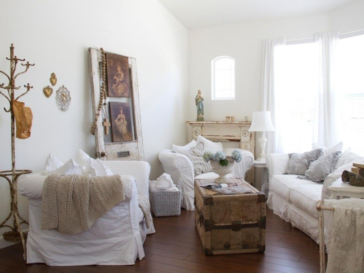 muebles salon estilo shabbi chic vintage sillon blanco ideas