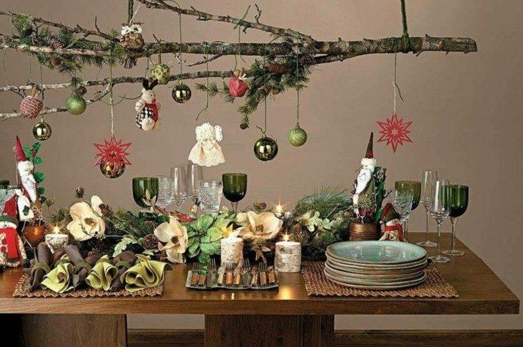 variante para decorar mesa navidad creatividad ideas ramas copas arbol con decorado tradicional