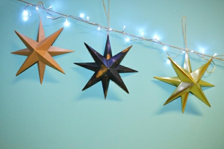 navidad manualidades faciles madera estrellas luces