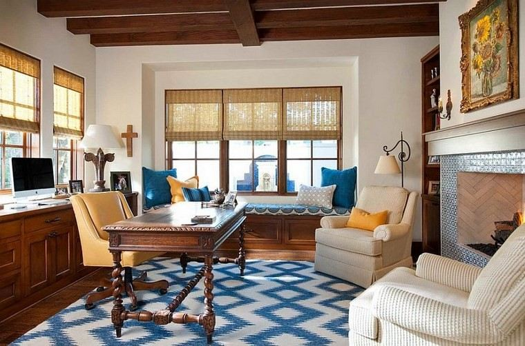 oficina estilo mediterraneo casa moderna azul elegante ideas