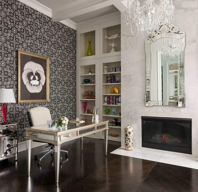 oficina estilo mediterraneo casa moderna chimenea marmol ideas