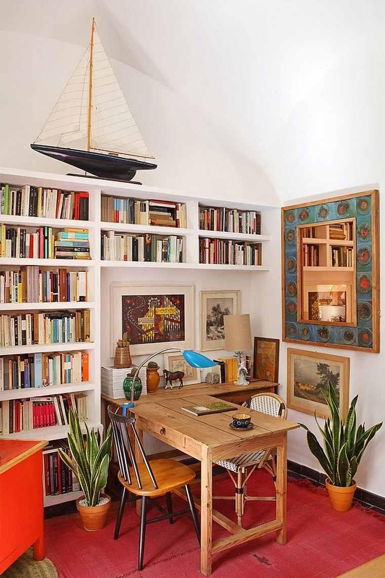 oficina estilo mediterraneo casa moderna estanteria pared ideas