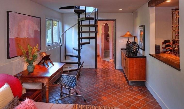 oficina estilo mediterraneo casa moderna losas terracota ideas