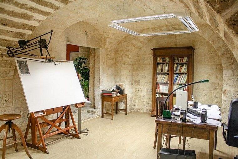 oficina estilo mediterraneo casa moderna pared piedra ideas