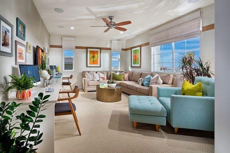 oficinas estilo mediterraneo casa moderna sillon azul ideas
