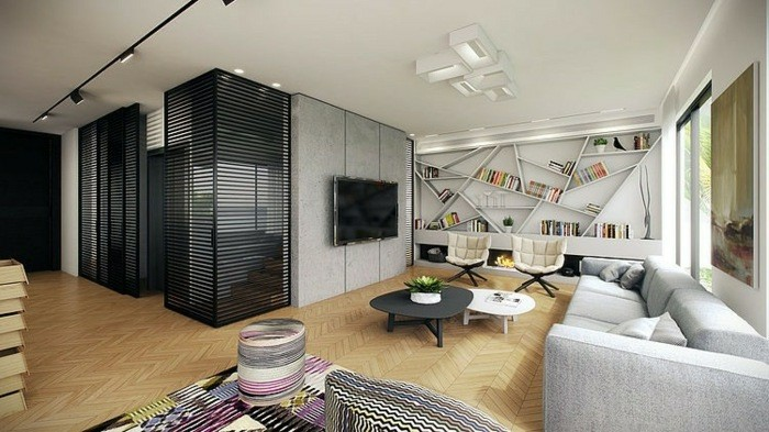 original diseño salon moderno chimenea