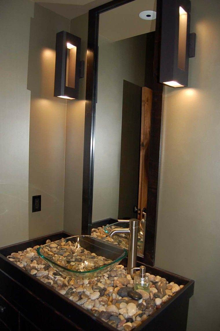 original lavabo vidrio decorado piedras