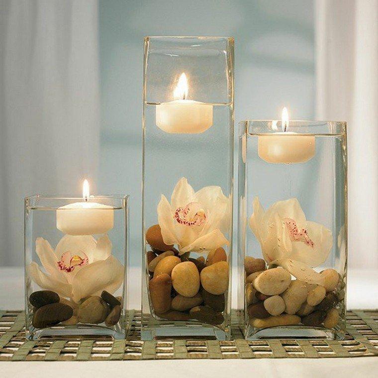 originales centros mesa bodas velas
