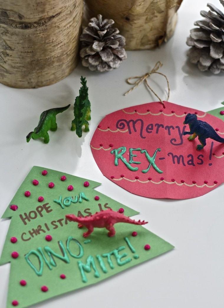 originales tarjetas navidad dinosaurios colores