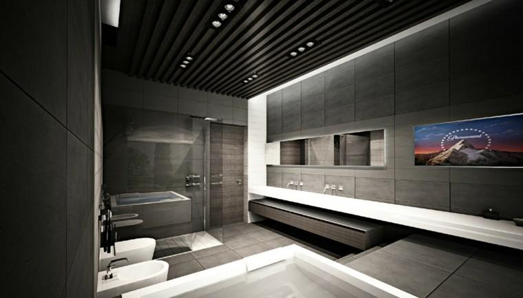 oscuro diseño iluminacion led lavabos