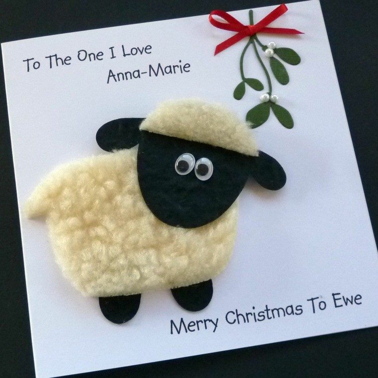 ovejita lana tarjeta navideña casera