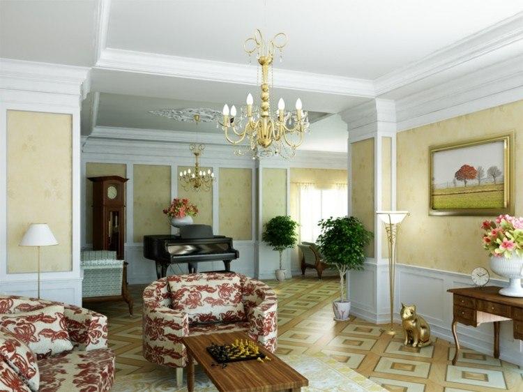 papel para paredes idea modrna dorados mesa
