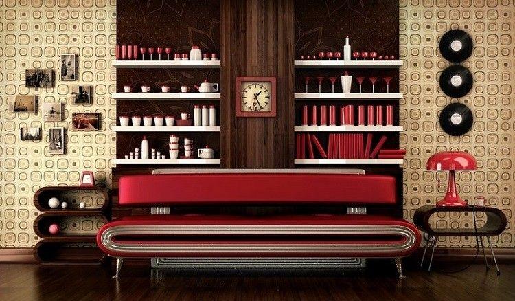 papel para paredes idea modrna relojes rojo