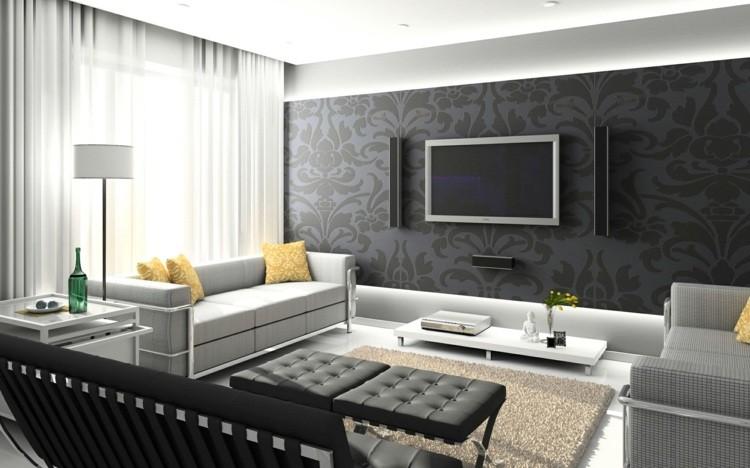 papel pared diseño salon gris