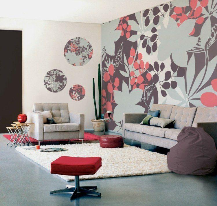 papel pintado pared flores colores