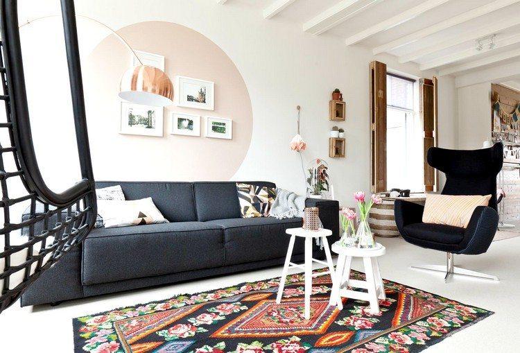 pared salón circulo rosa salon