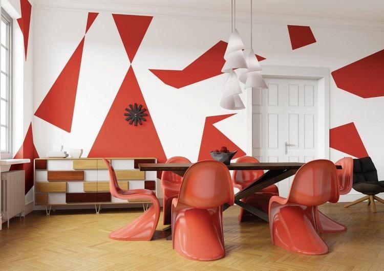 pared decocorada formas rojas