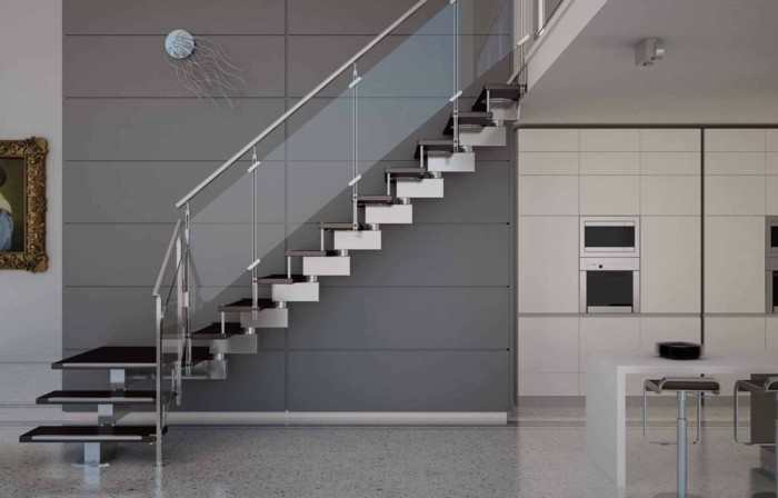 pared gris escaleras casa cocina ideas
