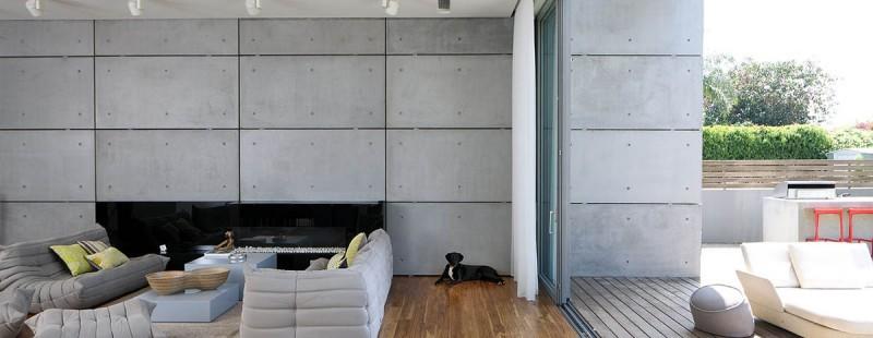 pared hormigon expuesto ventanales casa ideas