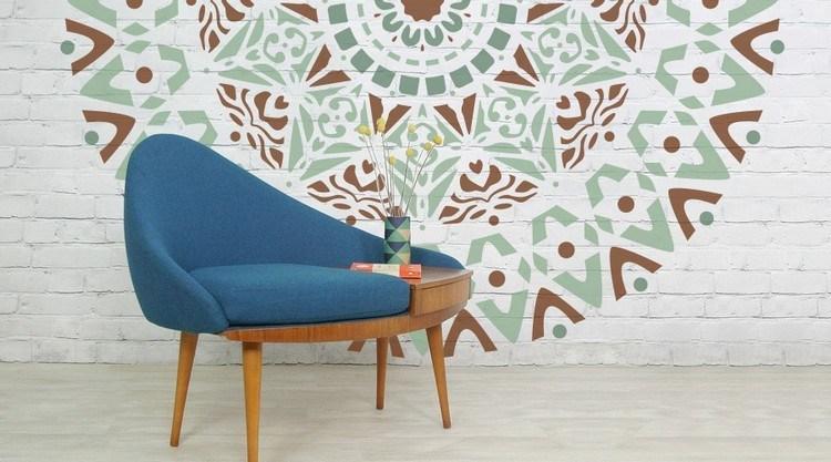 pared ladrillo mandala formas colores