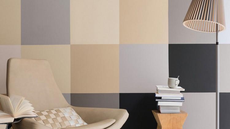pared salon cuadrados colores