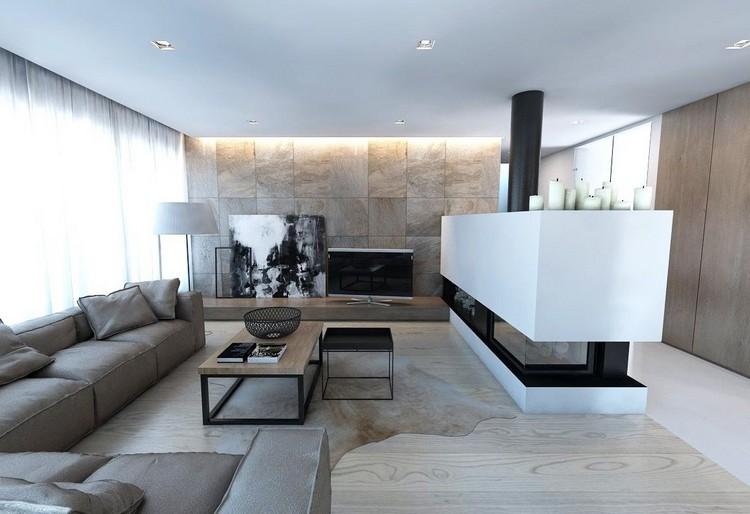 paredes diseño estilo rocas blanco madera