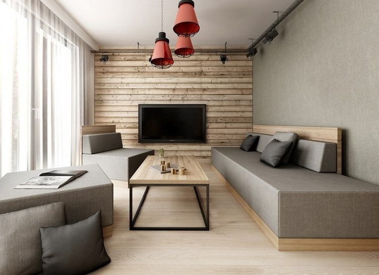 paredes diseño mueble decorado grises sofa