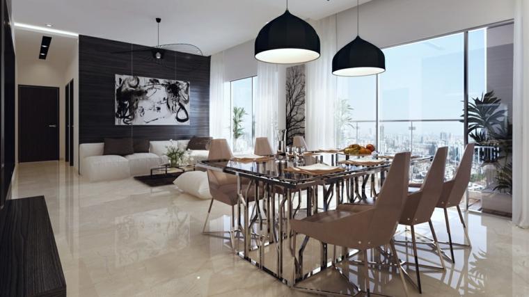 paredes diseño negro lamparas maderas
