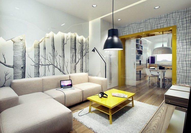 paredes diseño plantas amarillo sofa mesa
