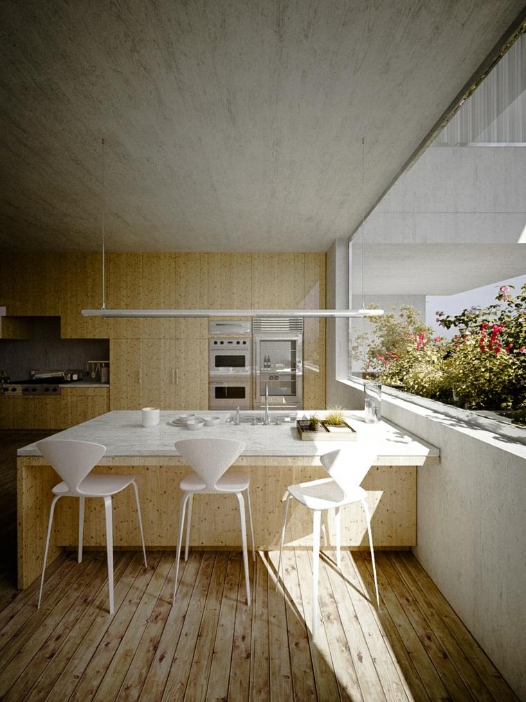paredes diseño sillones maderas hormigon