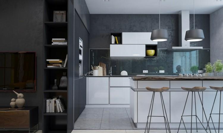 paredes interiores cristales accesorios madera cocina