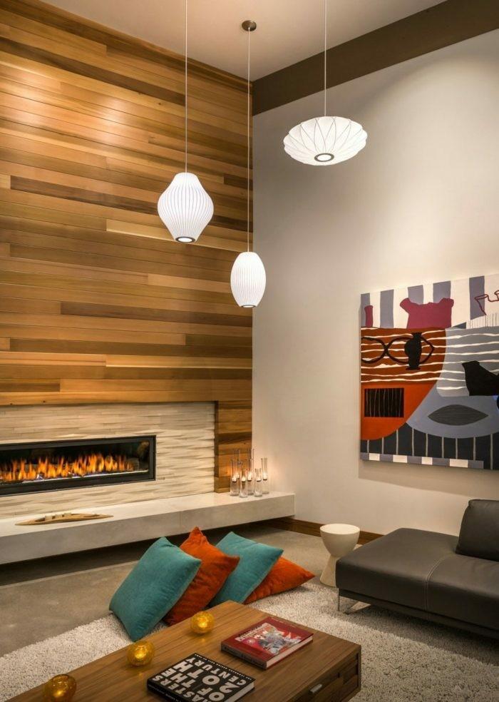 pared salon chimenea madera