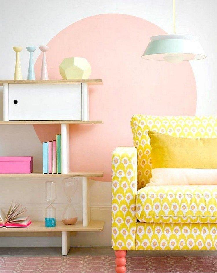 pared salon circulo color rosa