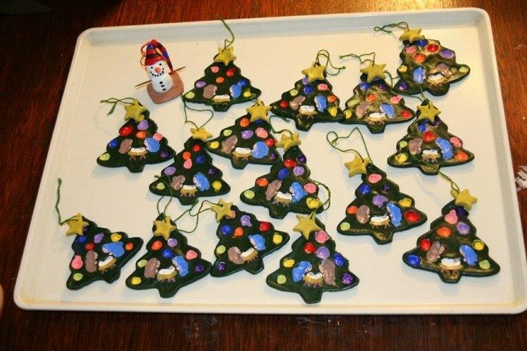 pasta de sal decoracion navidena personalizada arboles colores ideas