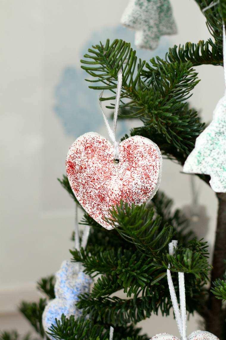 pasta de sal decoracion navidena personalizada corazon brillante ideas