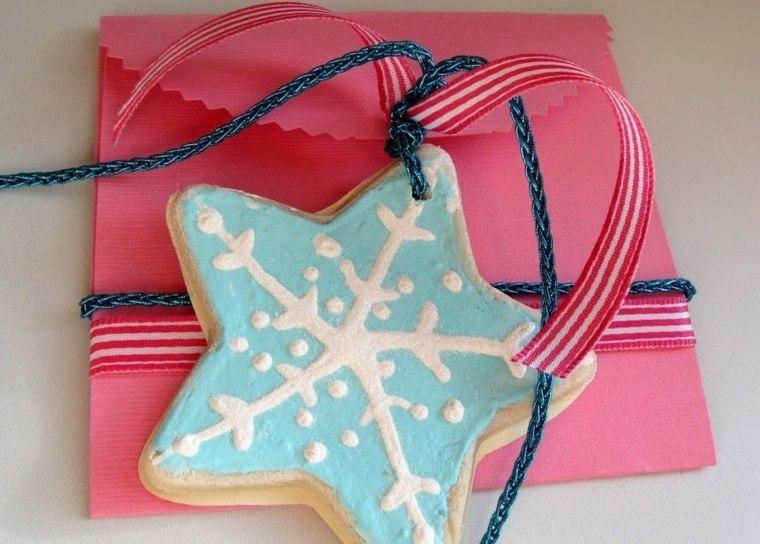 pasta de sal decoracion navidena personalizada estrella azul ideas