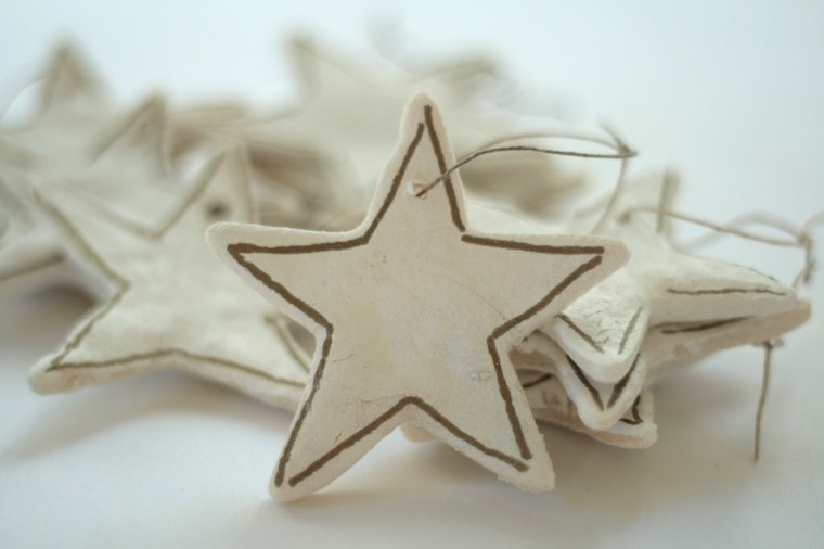 pasta de sal decoracion navidena personalizada estrella blanca ideas