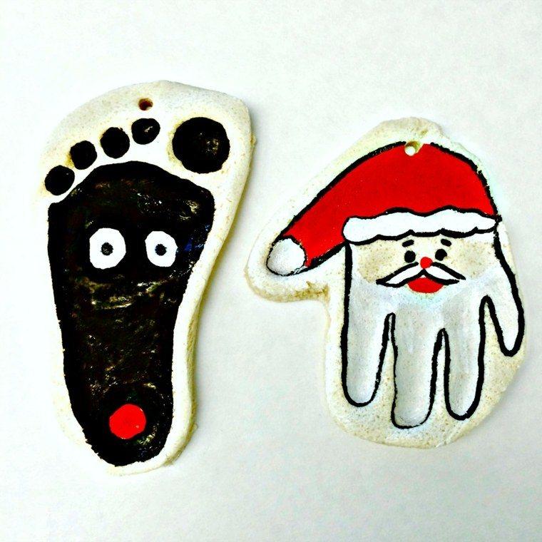 pasta de sal decoracion navidena personalizada mano pie ideas