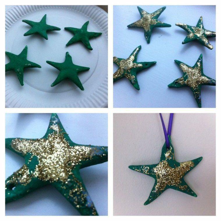 pasta sal decoracion navidena personalizada estrellas verdes ideas