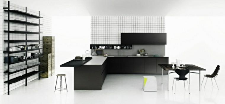 pequeña cocina diseño abierto estantes