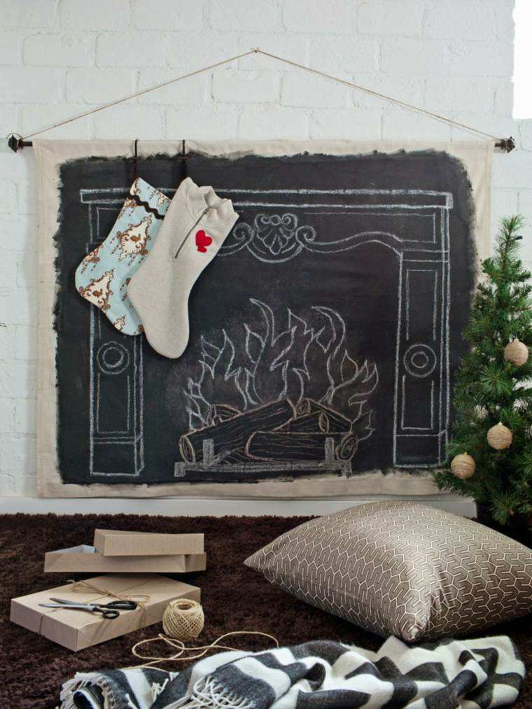 pizarra chimenea pintada decorativa