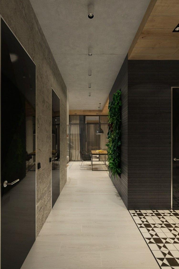 plantas diseño madera mesa oscuro lamparas