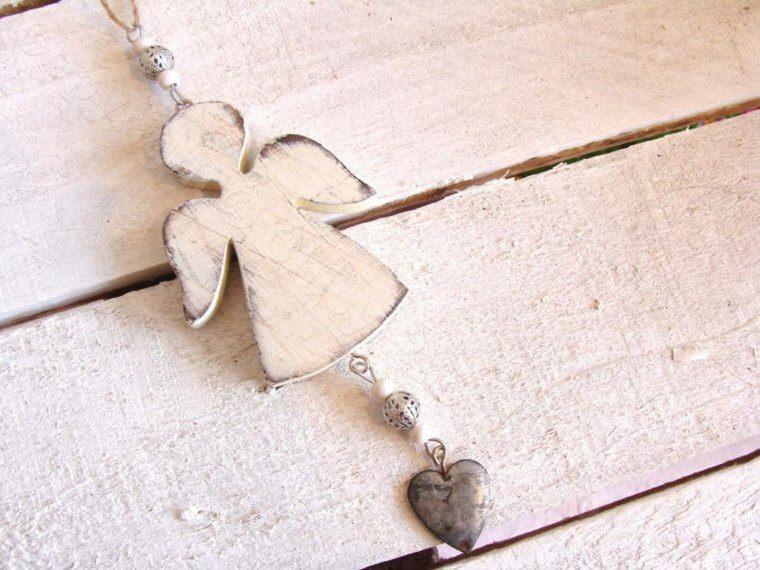 productos ecologicos adornos navidenos madera angel corazon ideas