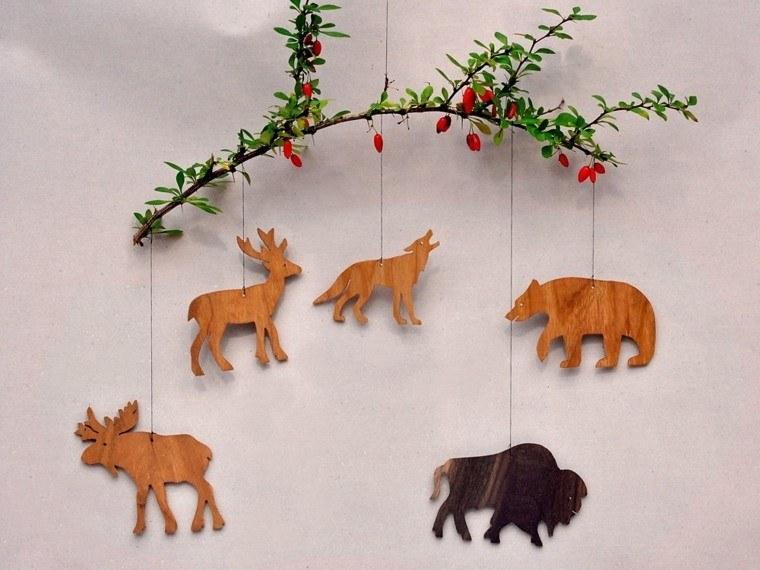 productos adornos navidenos madera animales bosque ideas